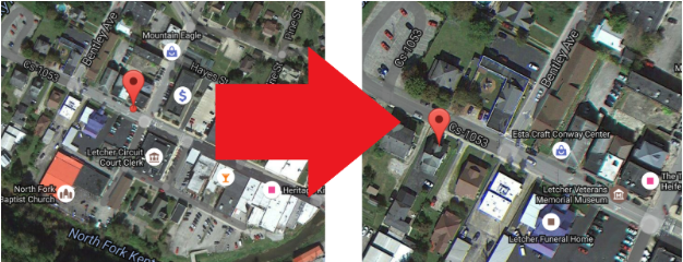an example of an inaccurate business listing left versus the actual location right